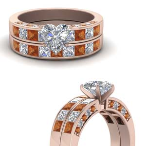 Heart Diamond Pave Wedding Set