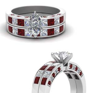Channel Diamond Ring Set With Ruby