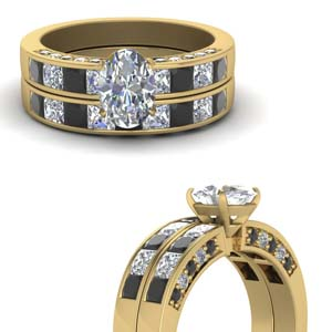 3 Side Black Diamond Wedding Set