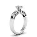 oval shaped channel engagement ring with black diamond in FDENS198OVRGBLACKANGLE2 NL WG