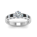 oval shaped channel engagement ring with black diamond in FDENS198OVRGBLACKANGLE5 NL WG