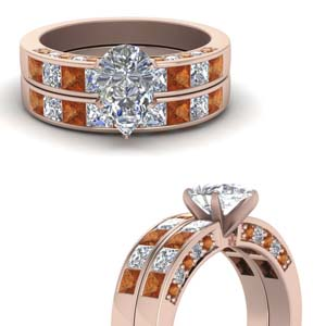 Pear Shaped Bridal Ring Set
