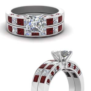 Princess Cut Ruby Wedding Set