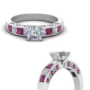 Channel Gemstone Engagement Ring