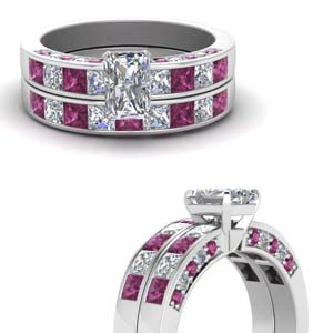 radiant cut diamond channel bridal set with pink sapphire in FDENS198RAGSADRPIANGLE3 NL WG.jpg