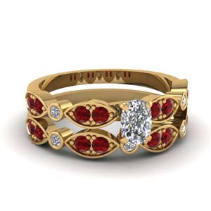 Art Deco Ruby Ring Set