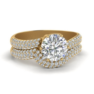 Micropave Diamond Bridal Ring Set