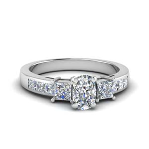 cushion cut channel three stone diamond engagement ring in 18K white gold FDENS205CUR NL WG