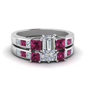 Pink Sapphire Channel Wedding Set