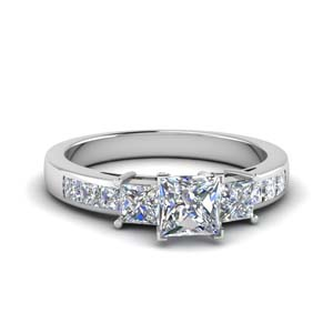 princess cut channel three stone diamond engagement ring in 14K white gold FDENS205PRR NL WG