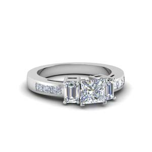 channel set 3 stone princess cut diamond engagement ring in FDENS207PRR NL WG