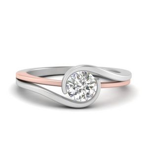 Two Tone Single Diamond Ring