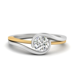 Two Tone Round Solitaire Ring