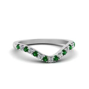 Curved Delicate Emerald Band