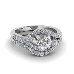 Swirl Halo Diamond Matching Set