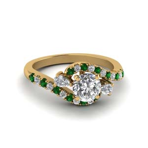 14K Yellow Gold Emerald Halo Ring