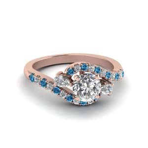 14K Rose Gold Blue Topaz Ring