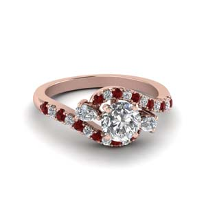 18K Rose Gold Swirl Ruby Ring