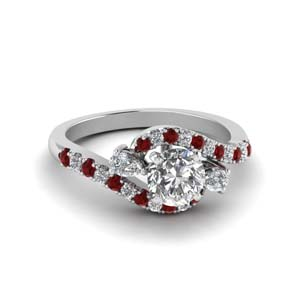 swirl halo simple diamond engagement ring with ruby in 14K white gold FDENS2232RORGRUDR NL WG