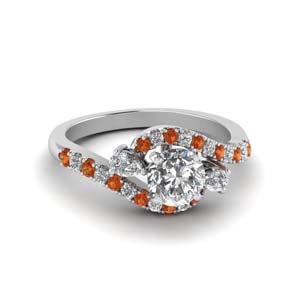 18K White Gold Orange Sapphire Ring