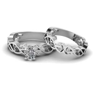 Solitaire Cushion Diamond Bridal Set