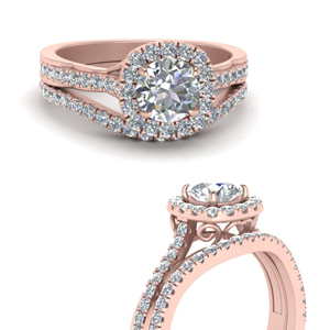 Rose Gold Cathedral Wedding Band Sets