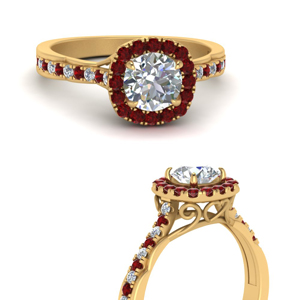 French Pave Halo Ruby Ring