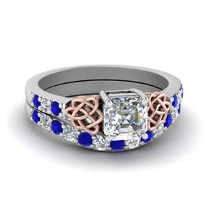 celtic asscher cut diamond wedding ring set with sapphire in FDENS2255B1ASGSABL NL WG.jpg