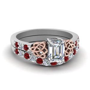 Emerald Cut Ruby Wedding Sets