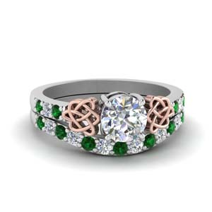 celtic round cut diamond wedding ring set with emerald in FDENS2255B1ROGEMGR NL WG