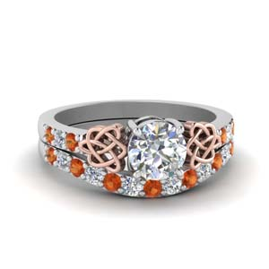 celtic round cut diamond wedding ring set with orange sapphire in FDENS2255B1ROGSAOR NL WG