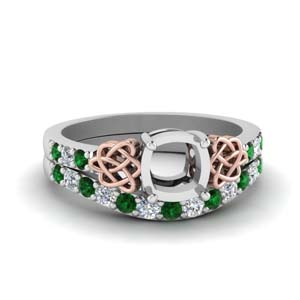 Semi Mount Celtic Wedding Set