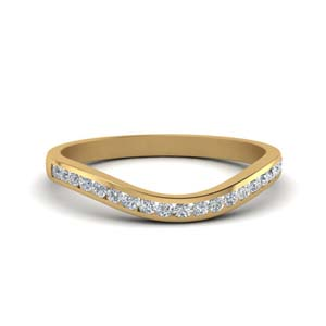 curved channel diamond wedding band in 14K yellow gold FDENS2255B2 NL YG