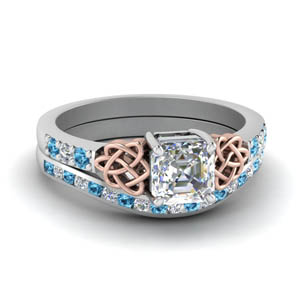 Blue Topaz Channel Ring Set