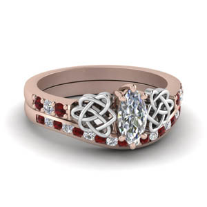 Accent Ruby Celtic Bridal Set
