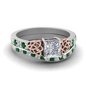 Princess Cut Emerald Wedding Set