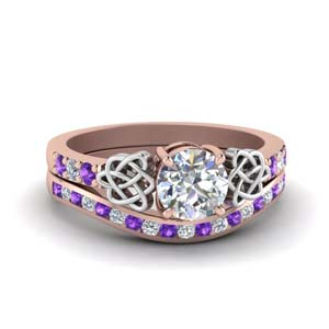 Purple Topaz Celtic Ring Set