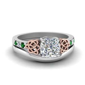 Emerald Knot Ring With Plain Band