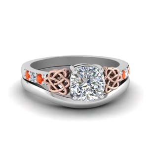 Celtic Wedding Set With Orange Topaz