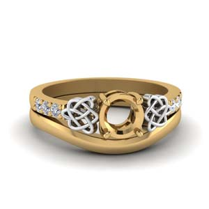 Semi Mount Celtic Knot Ring Set