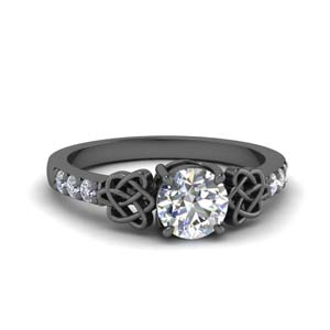 Black Gold Celtic Moissanite Ring