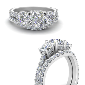 Basket 3 Stone Diamond Bridal Set