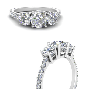3 Stone Diamond Ring For Womens