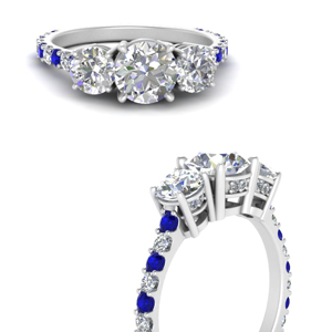 classic basket 3 stone diamond ring with sapphire in 14K white gold FDENS2320RORGSABLANGLE3 NL WG