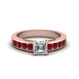 channel asscher diamond engagement ring with ruby in FDENS252ASRGRUDRANGLE1 NL RG GS