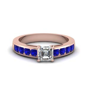 channel asscher diamond engagement ring with sapphire in FDENS252ASRGSABLANGLE1 NL RG GS