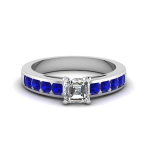 channel asscher diamond engagement ring with sapphire in FDENS252ASRGSABLANGLE1 NL WG GS