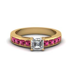 channel asscher diamond engagement ring with pink sapphire in FDENS252ASRGSADRPIANGLE1 NL YG GS