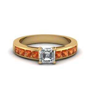 channel asscher diamond engagement ring with orange sapphire in FDENS252ASRGSAORANGLE1 NL YG GS