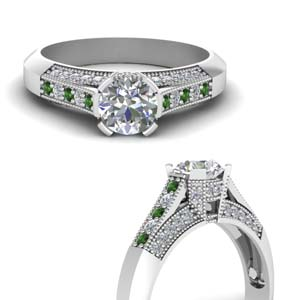 Antique Pave Emerald Ring